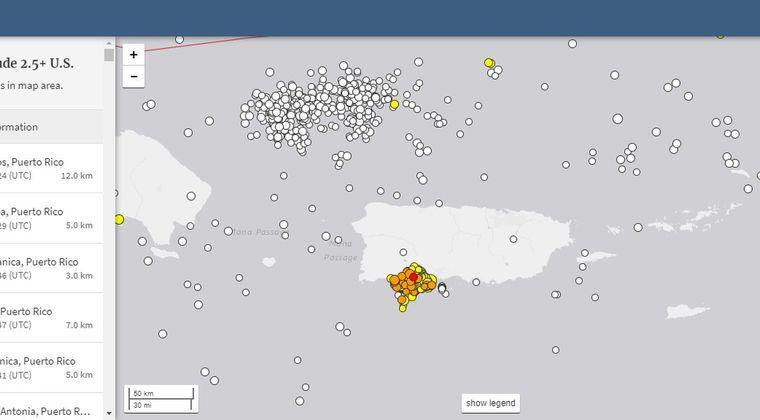 【プエルトリコ】昨年末から地震が始まり、既に「950回以上」の揺れを観測
