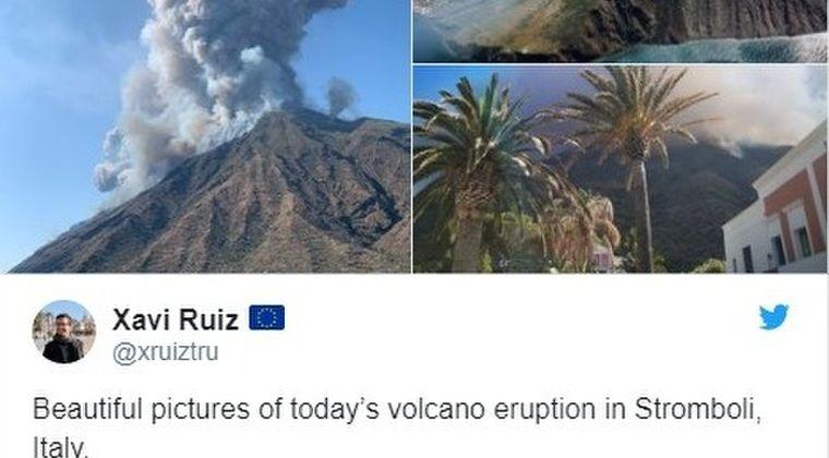 【噴煙】イタリアのストロンボリ島で火山が噴火!観光客は逃れるため海に飛び込んで避難