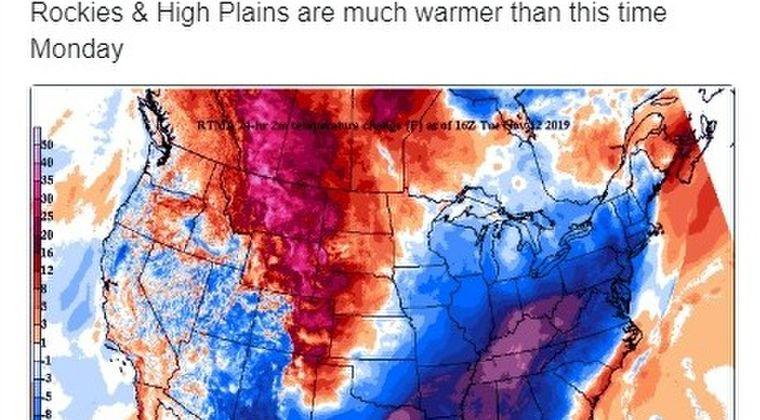 アメリカ中西部から東海岸にかけて、記録的な寒波襲来!平年より「最大マイナス17℃」も下回る