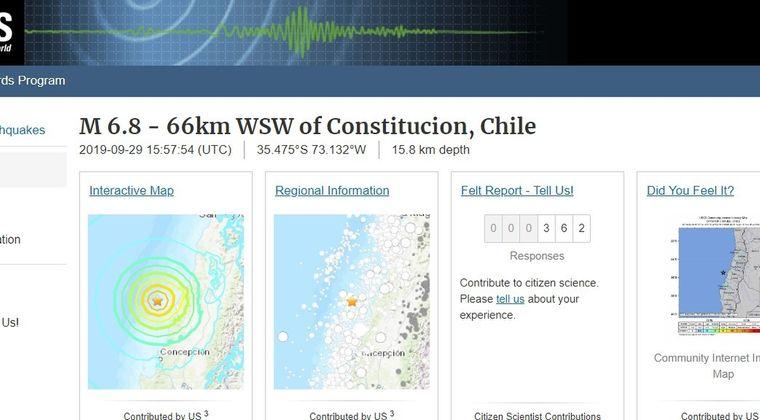 【USGS】チリ沖で「M6.8」の地震発生…その後もM4クラスの地震が相次ぐ