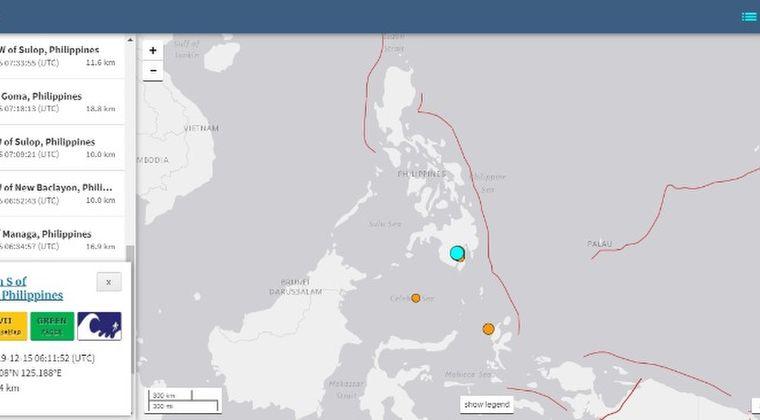 フィリピン南部で「M6.8」の地震発生…その後も「M4~5クラス」の地震が15回超