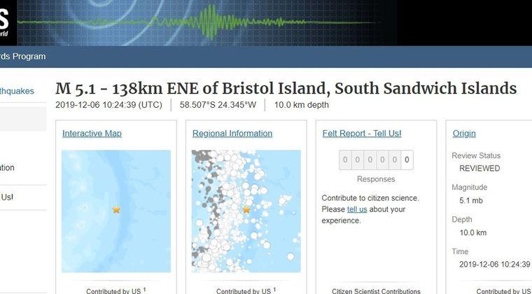 南大西洋サウスサンドウィッチ島付近で「M5.1」トンガで「M6.0」の地震発生