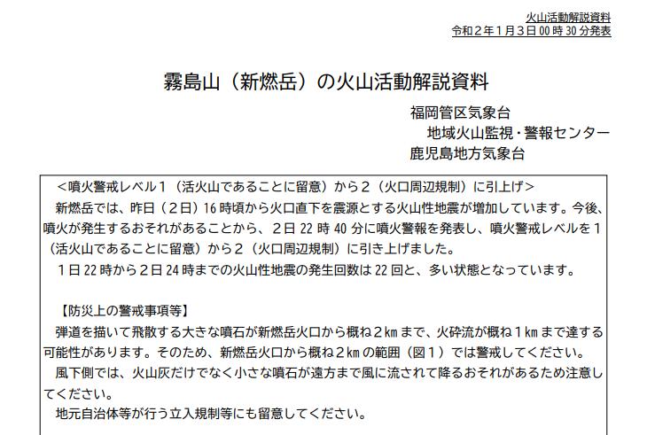 【気象庁】霧島連山・新燃岳について、噴火警戒レベル2に引き上げ