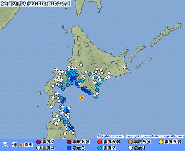 北海道・青森で最大震度3の地震発生 M4.9 震源地は浦河沖 深さ約60km