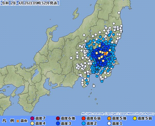 【東京震度3】関東の広範囲で最大震度4の地震発生 M4.8 茨城県南部 深さ約70km