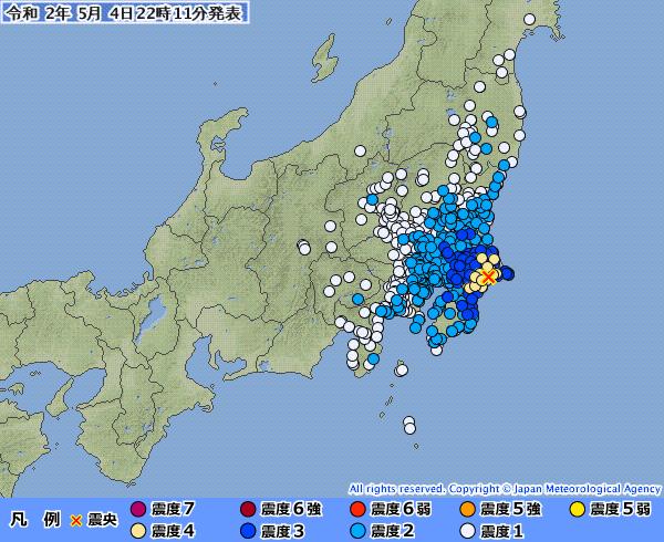 【緊急地震速報】千葉・茨城で最大震度4の地震発生 M5.5 震源地は千葉県北東部 深さ約50km