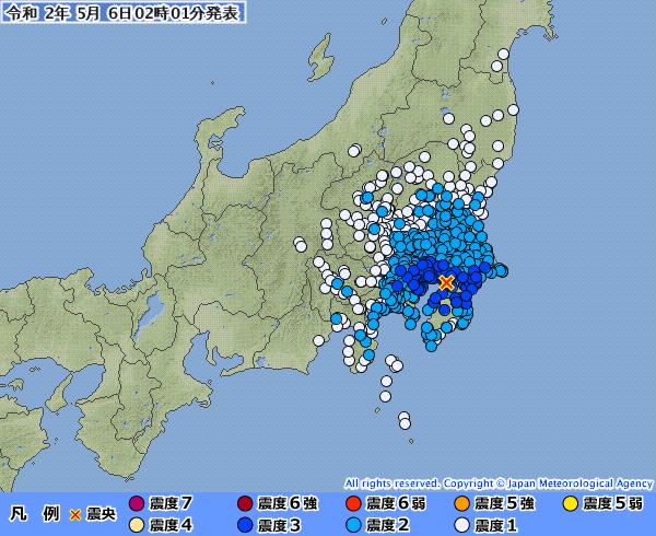 【緊急地震速報】東京23区・震度3 関東で最大震度4の地震発生  M5.0 震源地は千葉県北西部 深さ約70km