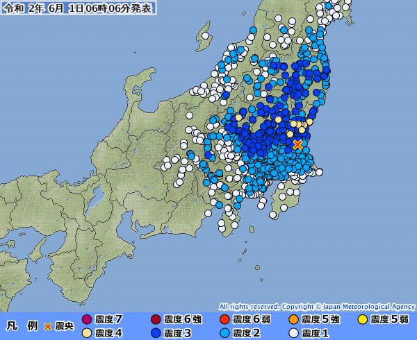 関東地方で最大震度4の地震発生 M5.3 震源地は茨城県北部 深さ約100km
