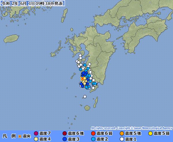 九州地方で最大震度4と2の地震が続けて発生 M4.3 震源地は薩摩半島西方沖