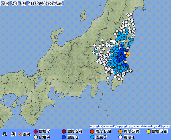 【関東】茨城県で最大震度4の地震発生 M4.7 震源地は茨城県沖 深さ約50km