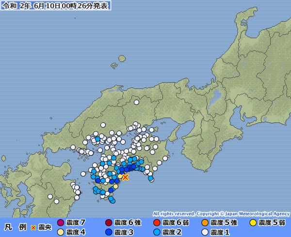 【南海トラフ】高知県で震度4の地震発生 M4.6 震源地は「土佐湾」