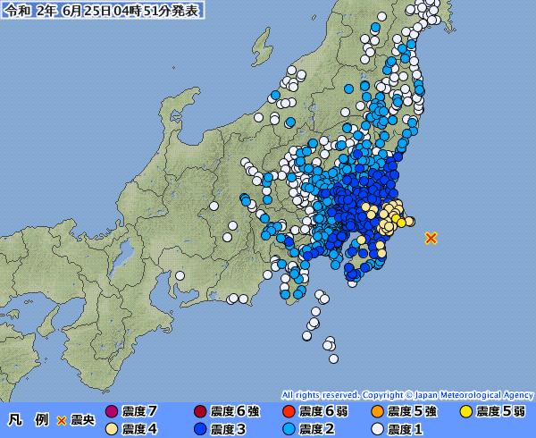 【緊急地震速報】関東地方で最大震度5弱の地震発生 M6.2 震源地は千葉県東方沖 深さ約30km