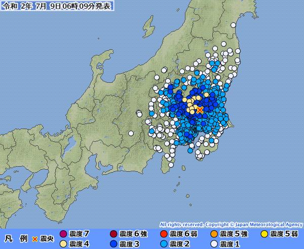 関東地方で最大震度4の地震発生 M4.7 震源地は茨城県南部 深さ約50km