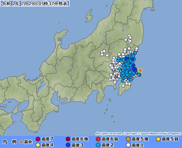 茨城県で最大震度3の地震発生 M4.6 震源地は茨城県沖 深さ約20km