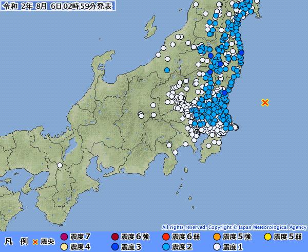 【広範囲】福島、茨城、栃木で最大震度3の地震発生 M5.6 震源地は茨城県沖 深さ約30km