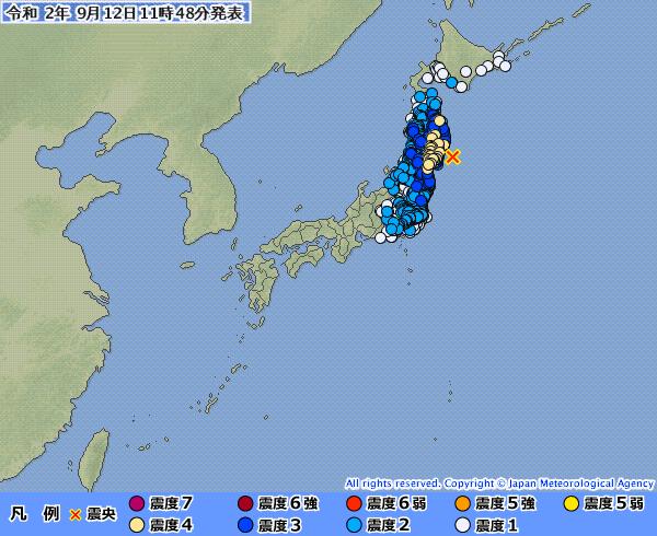 【緊急地震速報】宮城沖で地震が頻発中「M6.1」東日本の広範囲が揺れる最大震度4が1回、震度3が2回も