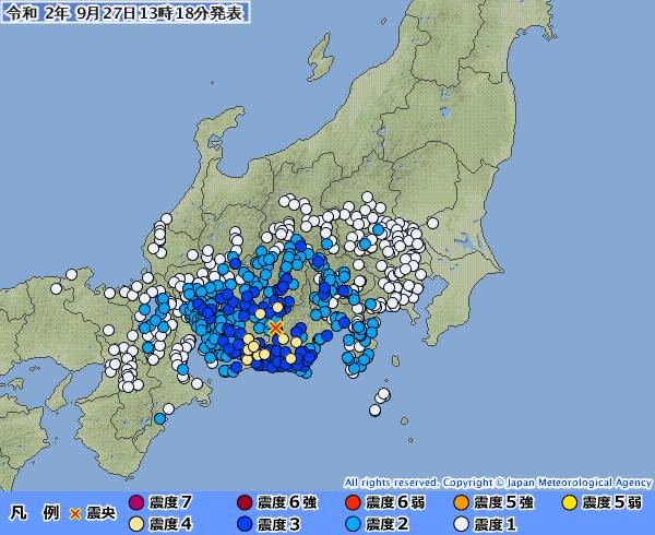【中央構造線】長野県、静岡県、愛知県で震度4の地震発生 M5.3 震源地は静岡県西部 深さ約50km