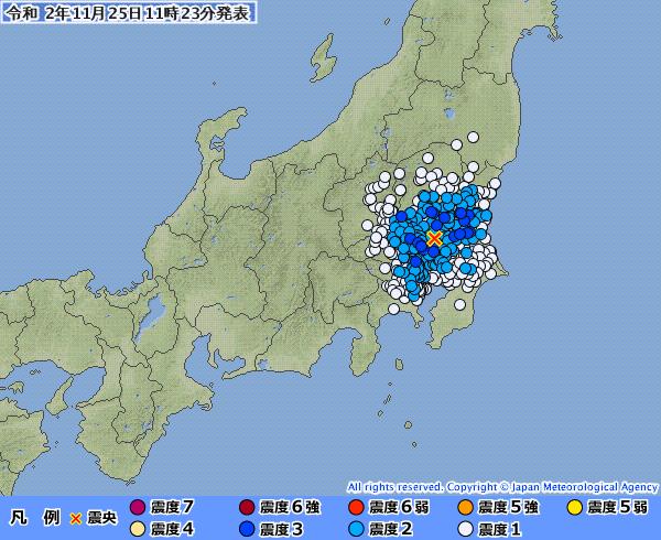 関東地方で最大震度3の地震発生 M4.3 震源地は茨城県南部 深さ約50km