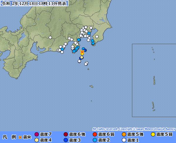 東京都新島で「最大震度5弱」の地震発生 伊豆大島では「震度3」 M5.1 震源地は伊豆大島近海
