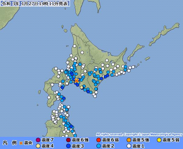 北海道で最大震度4の地震発生 M5.4 震源地は胆振地方中東部