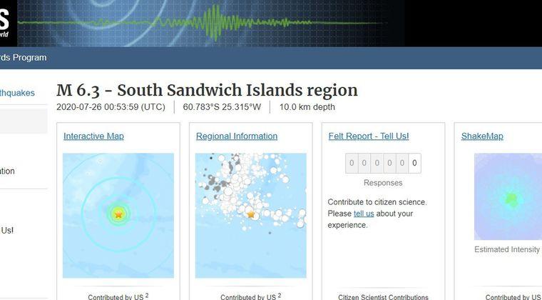 【南大西洋】サウスサンドウィッチ諸島で「M6.3」の地震