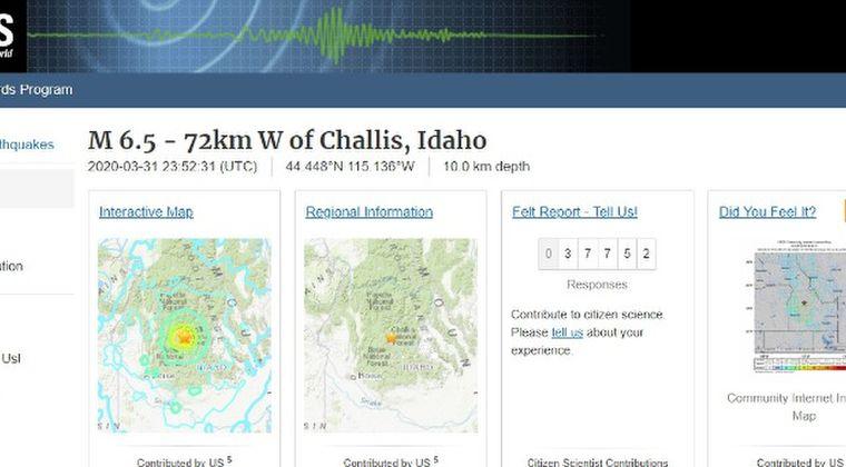 アメリカ西部アイダホ州でM6.5の地震発生