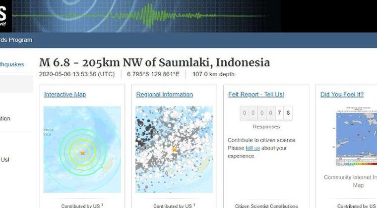 インドネシア近海で「M6.8」の地震発生