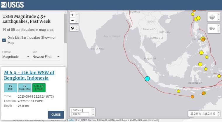 【USGS】インドネシア付近で「M6.9」と「M6.8」の地震が相次ぐ