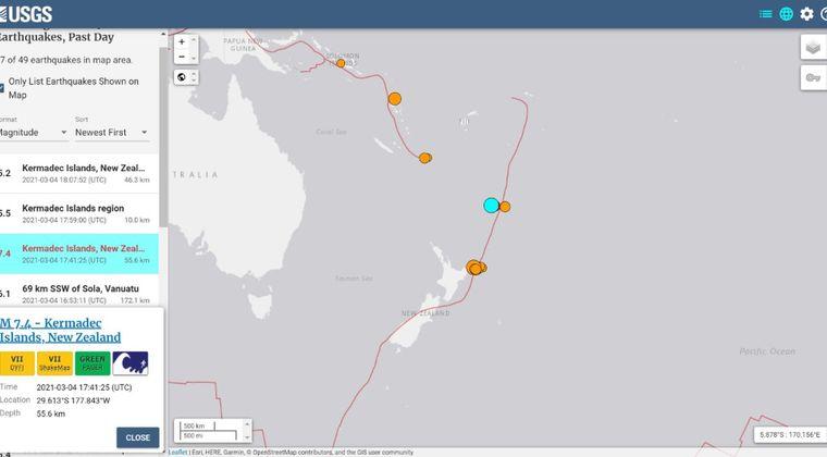 【連動】ニュージーランド沿岸で「M7.3」の地震の後「M7.4」の大地震が立て続けに発生