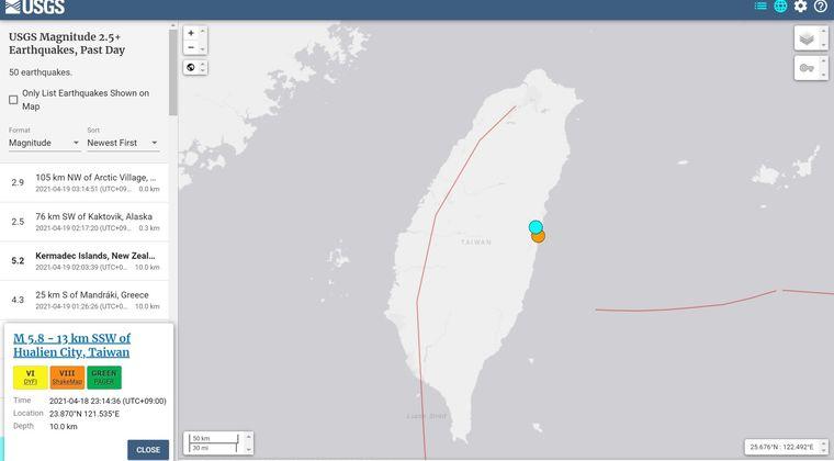 【USGS】台湾で「M5.8」と「M5.4」の地震が続けて発生…最大震度は6弱 震源深さは約14km