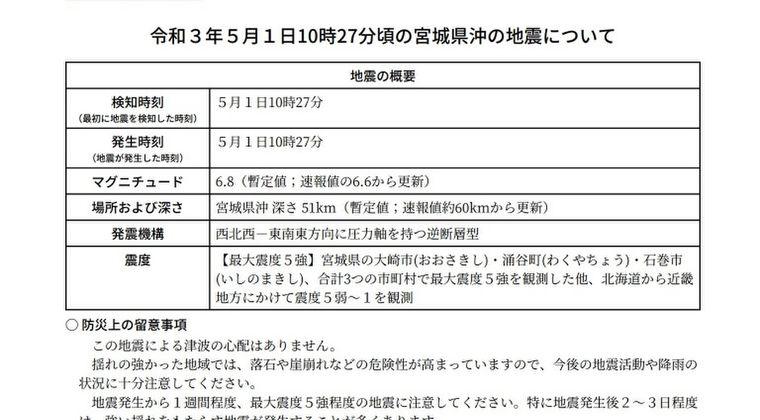 【震度5強】気象庁「津波はギリギリ起きなかった」…宮城県沖M6.6の地震