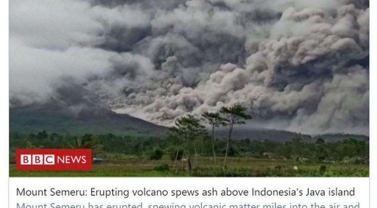 インドネシアのジャワ島東部にある「スメル山」が噴火…先日スラウェシ島では「M6.2」の地震も発生
