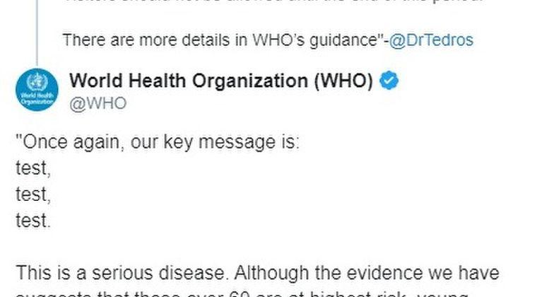 【緊急会見】WHO「少しでも新型コロナ感染の疑いのあるケースは全て検査しろ!もう一度、言うがまずは検査、検査、検査だ」