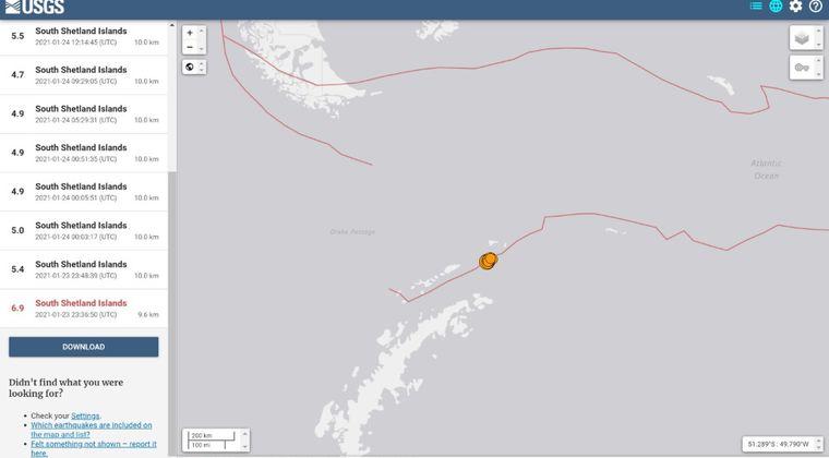 【珍しい】南極付近でM6.9の地震発生…その後もM5クラスの地震相次ぐ