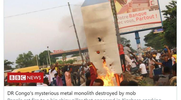 【アフリカ】今度はコンゴに「謎のモノリス」が出現…その後、見つけた住人たちに燃やされ破壊されてしまう