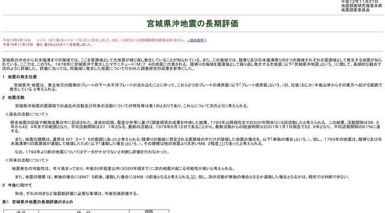 【宮城県沖地震】M7.4前後、30年以内「60~70%」に上昇!長期評価を更新