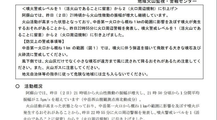 【九州】阿蘇山の火山活動が活発化…噴火警戒レベル2に引き上げ