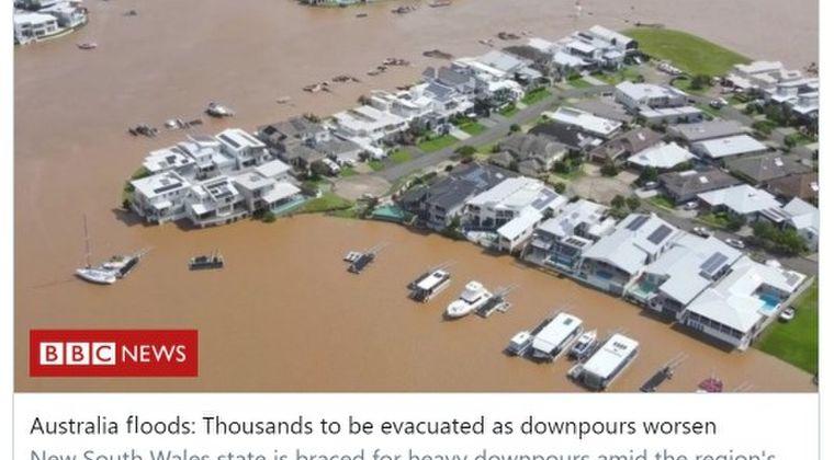 【異常気象】オーストラリア東部で大洪水が発生…100年に1度の豪雨に
