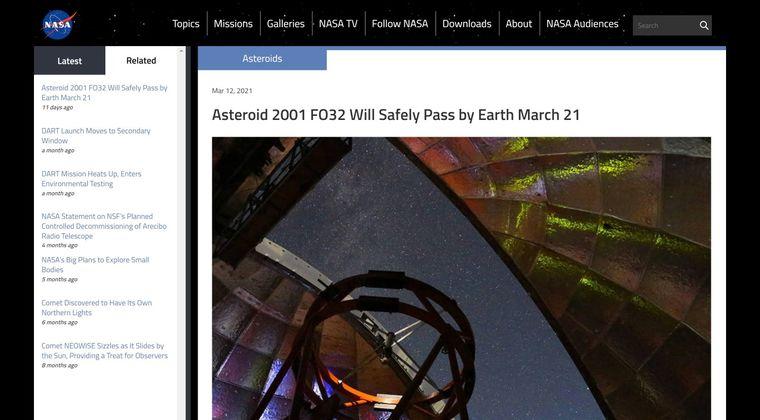 【NASA】2021年、最大の小惑星「2001 FO32」が22日地球に最接近!