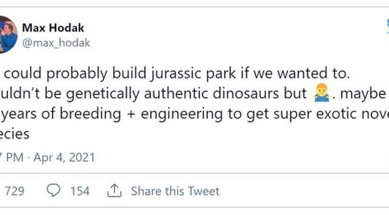 「我々は恐竜をクローン技術で復活させジュラシックパークを建設できる」…イーロン・マスクと新興企業を立ち上げた社長が発言