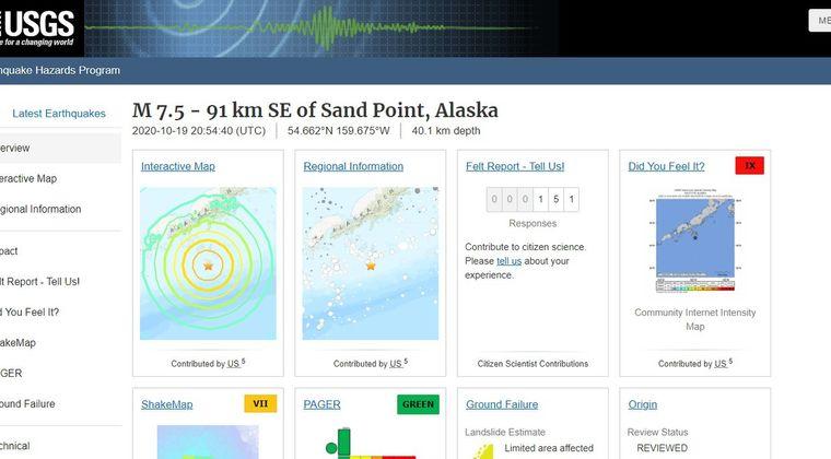アラスカで「M7.5」の大地震が発生…M5クラスの余震も相次ぐ