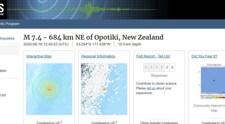 ニュージーランド付近で「M7.4」の地震発生!日本に津波の影響はなし