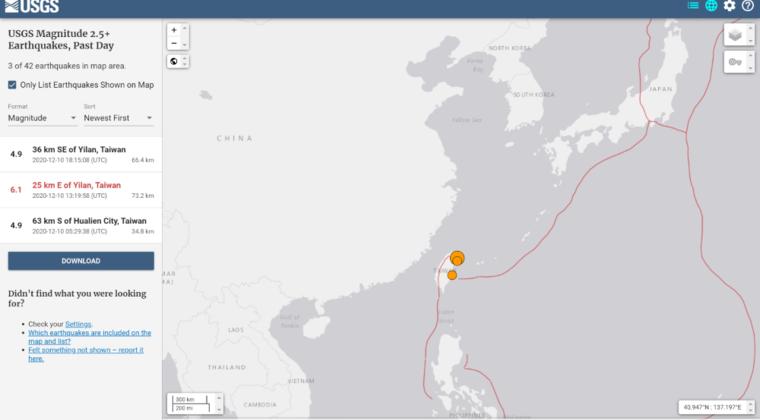 台湾付近で「M6.7」の地震 「M4.9」も2回発生…10日前にはリュウグウノツカイも
