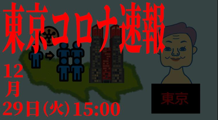 【速報】東京都 新型コロナ 856人感染確認 12月29日 火曜日の最多を更新
