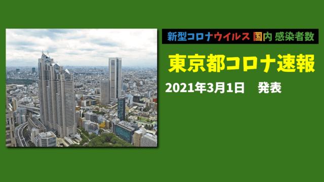 【速報】東京都 3月1日 新型コロナ 感染者数を発表 一部宣言解除後初