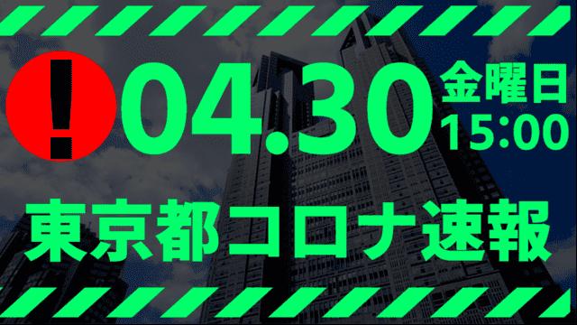 【速報】東京都 新型コロナ感染者数を発表 4月30日 検査数、また急激に減る