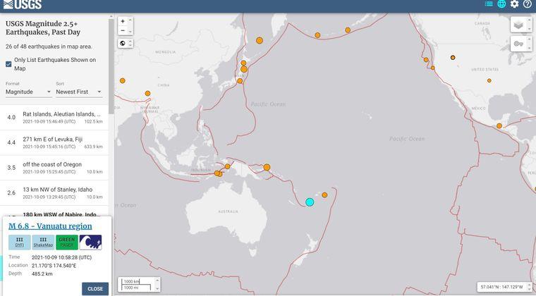 【法則】バヌアツ諸島で「M7.0」の地震発生…震源が深く520km