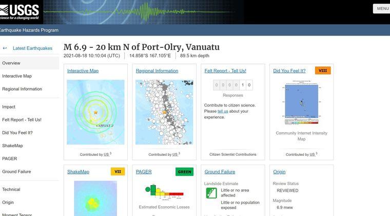 【法則】南太平洋バヌアツ諸島で「M6.9」の地震発生