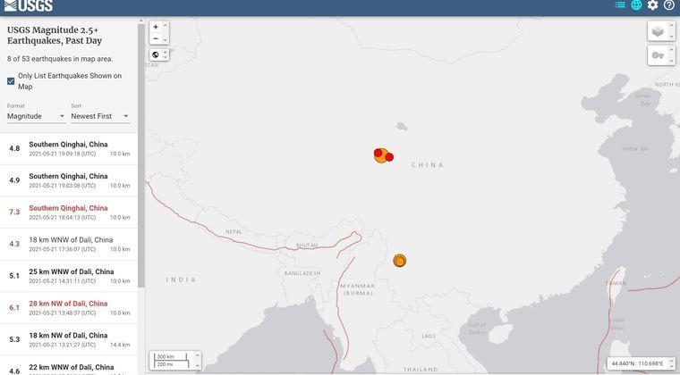 中国で「M7.4」の地震が発生…ここ数日、中国では大きい規模の地震が相次いでいる模様
