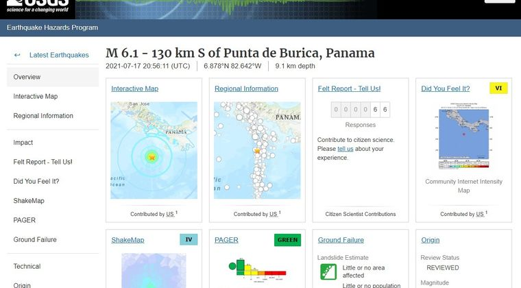 【地震】パナマで「M6.1」の地震発生